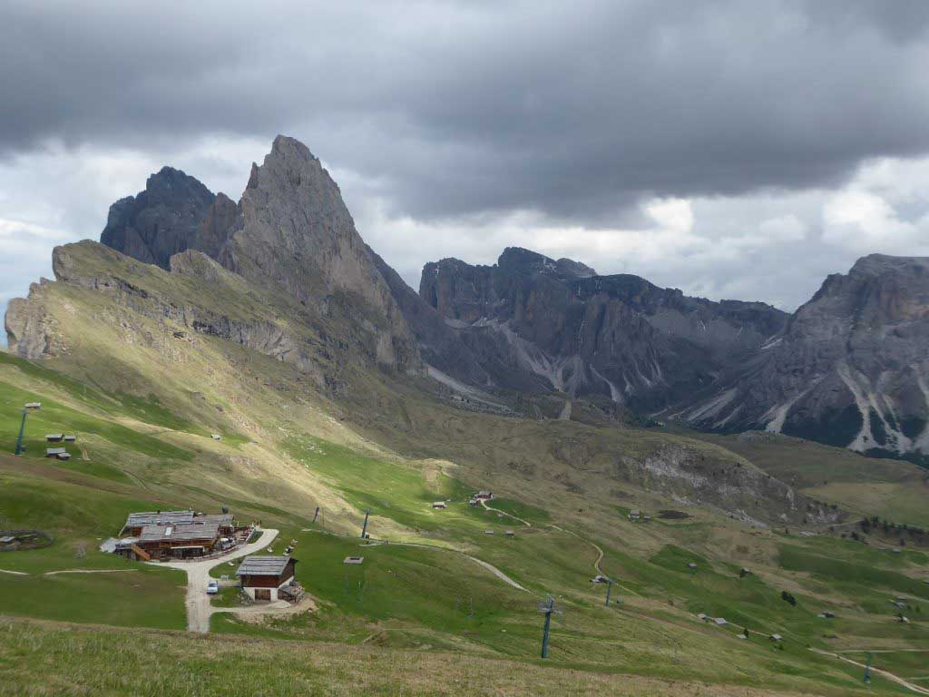 Panoramic views from the top of mount Seceda in South Tyrol
