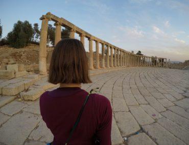 Jerash, Jordan, sunset, collumns, Roman ruins, travel alone
